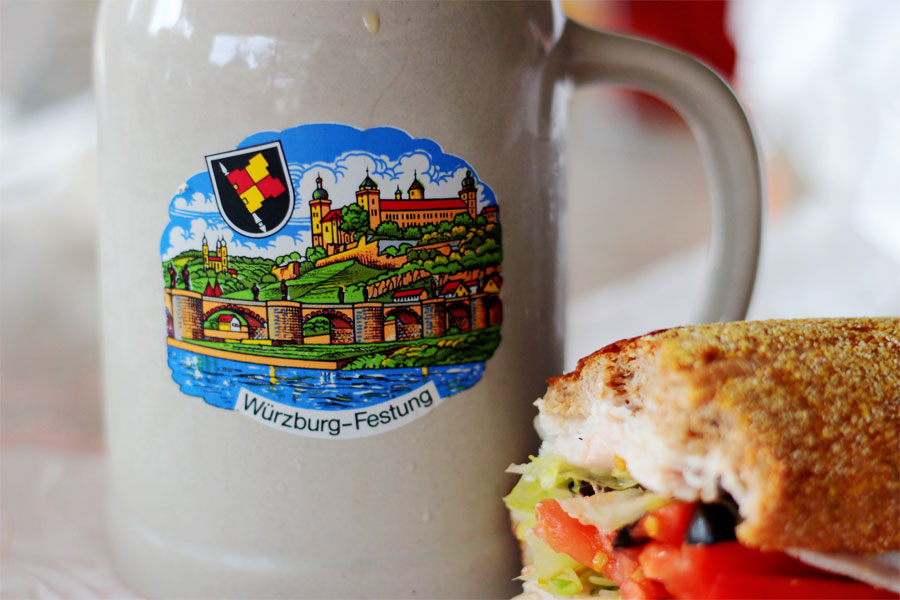 a beer stein and a sub
